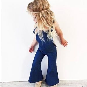 Other - Hippie denim bell bottom flare overalls kids girls
